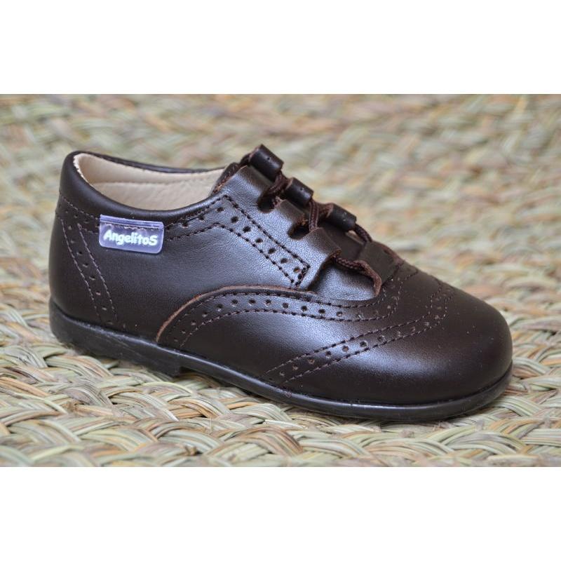 Zapatos Inglesito Para Niños Angelitos Marrón 505