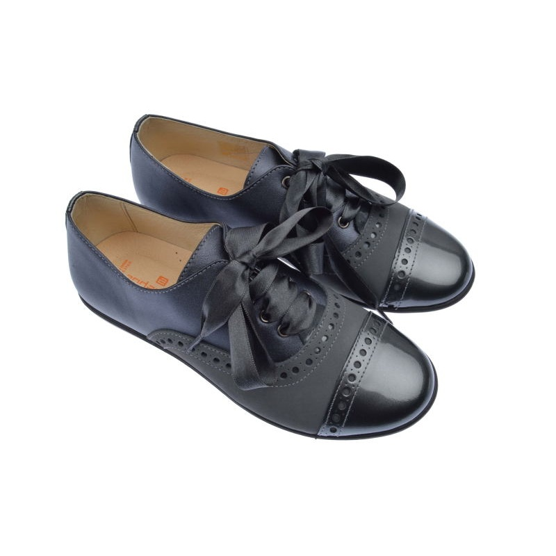 Con 162400 Acero Napa Blucher Niña Andanines Zapatos Charol Metal Aj35RLq4
