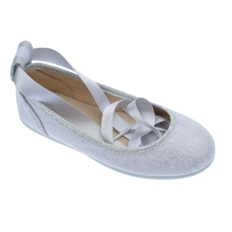 95b13dab Bailarina de lona para niña de lino blanco -Chuches-