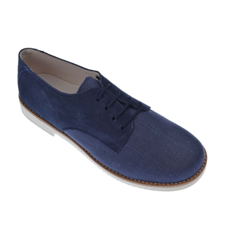 4c527d7efab Zapatos Comunión de niño lino con ante azul marino -Pirufin-