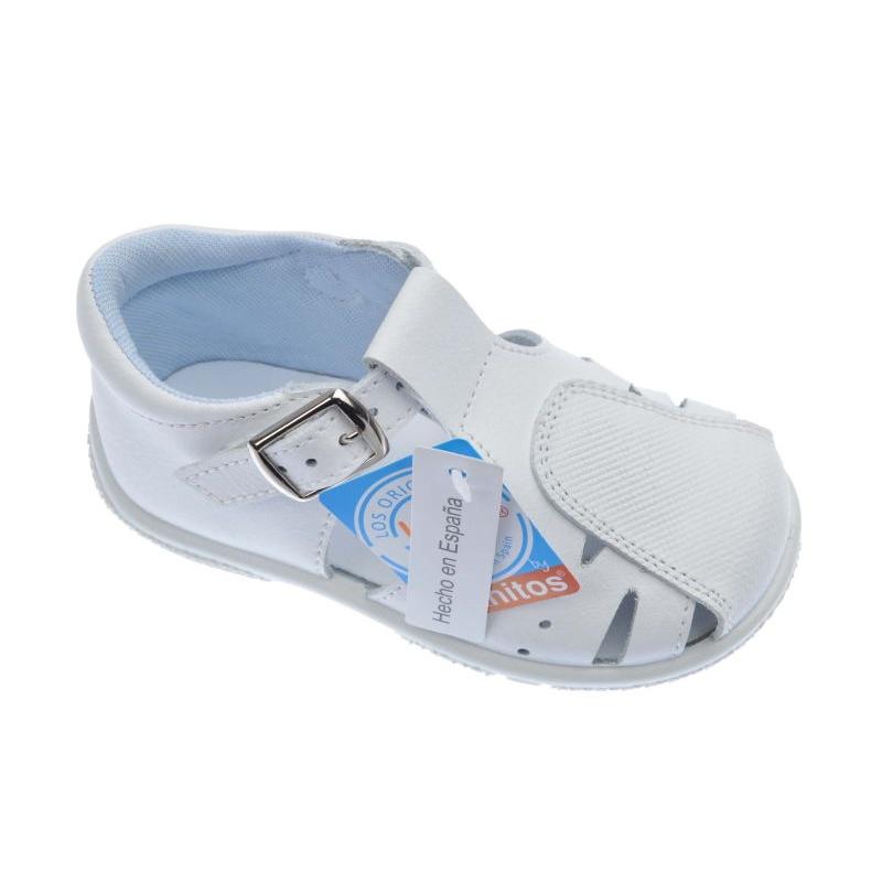 0e992777f29 Sandalias de piel Titanitos color blanco con hebilla