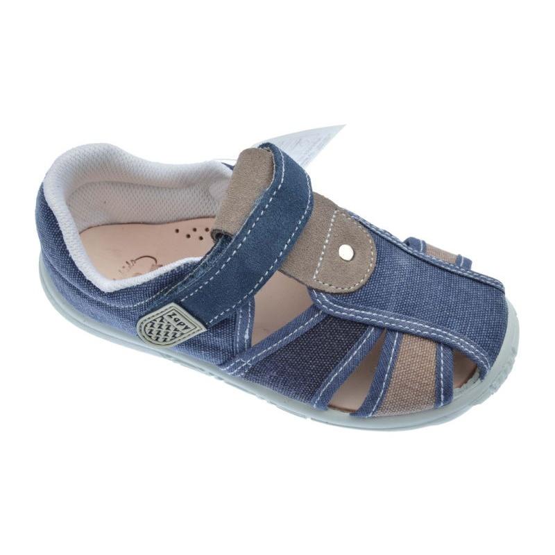 c34368da2 Sandalias de lona para niño Zapy jeans vaquero y taupe 73738