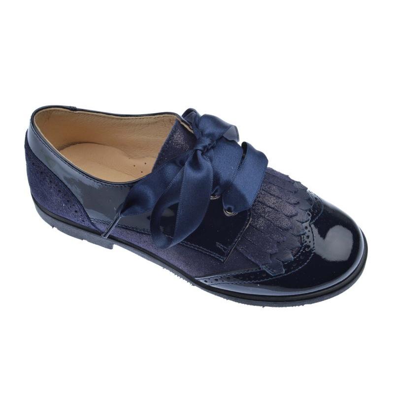 2a0b5bf53ca Zapatos Niña charol metal marino con serraje ⭐ Andanines ⭐